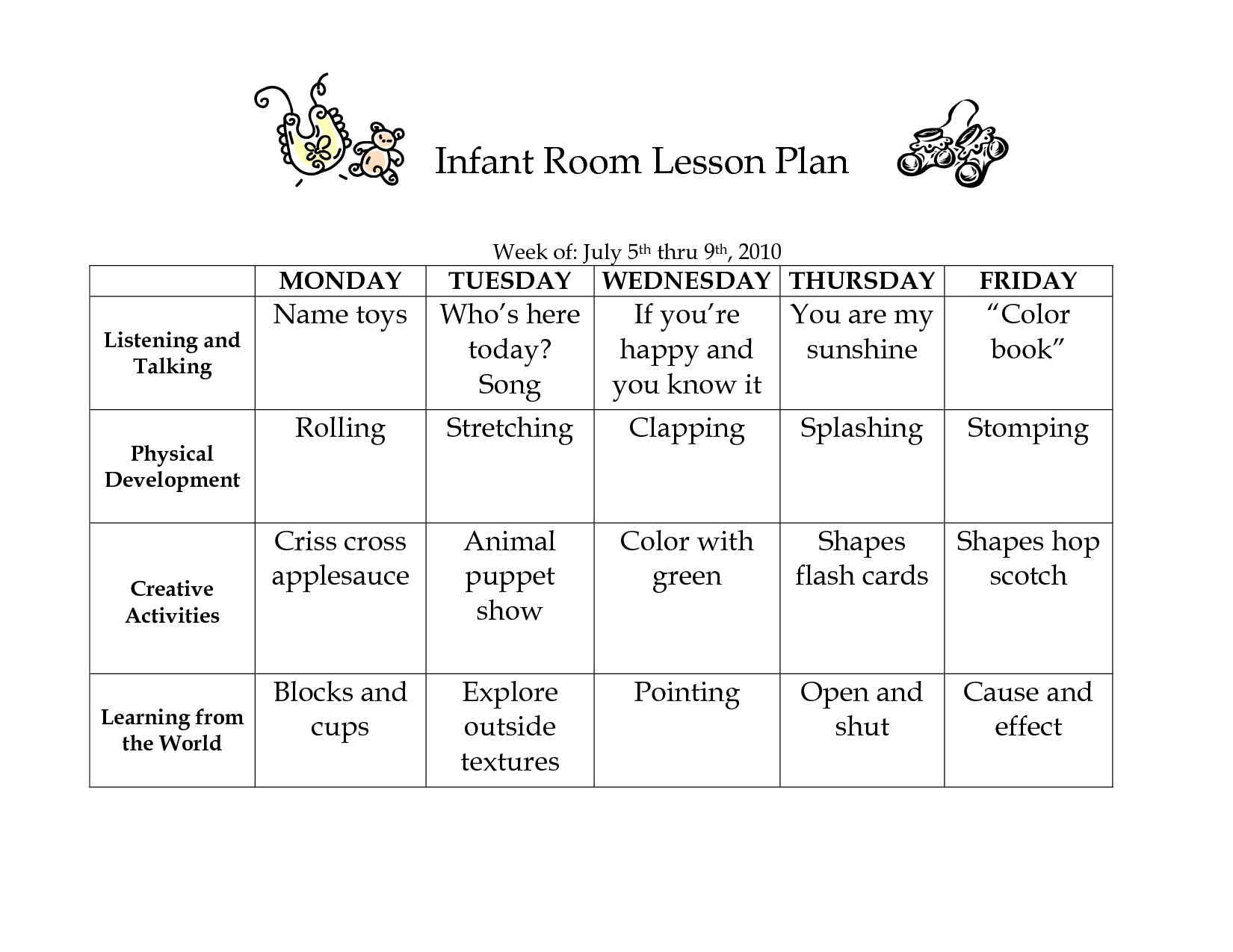 Infant Room Lesson Plan - Westlake Childcare By Linzhengnd-Printable Template Childcare Lesson Plan 2020