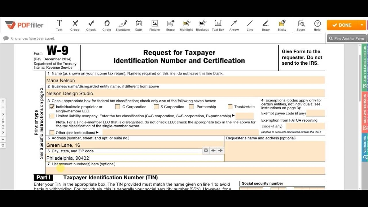 Irs W-9 Form 2017 – Fill Online, Printable, Fillable Blank | Pdffiller-Blank W-9 Form 2020