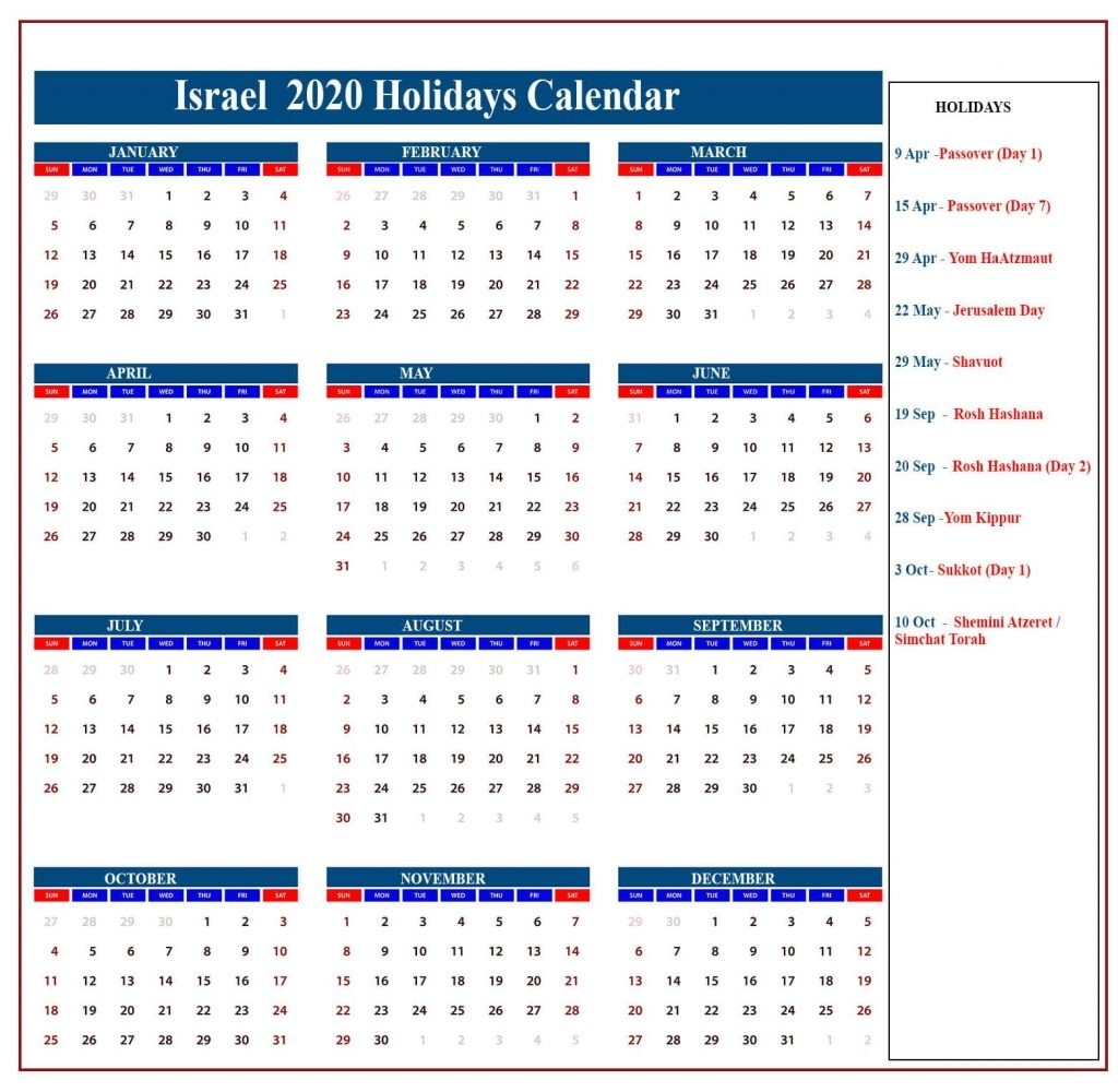 Israel Holidays Calendar 2020 | Israel Jewish Holidays 2020-2020 Calendar With Hebrew Holidays Printable