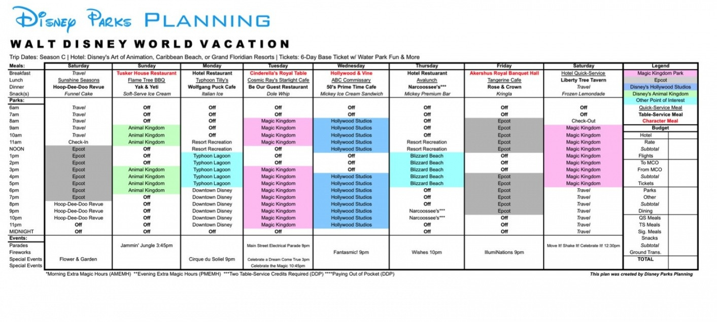 Itinerary Template: Itinerary Template Disney-Printable Disney Itinerary Template