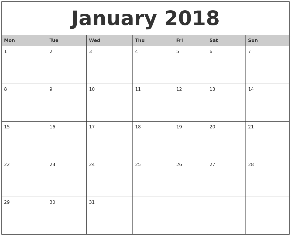 January-2018-Monthly-Calendar-Printable-Monday-Start - Eco-Monthly Calender Starting With Monday