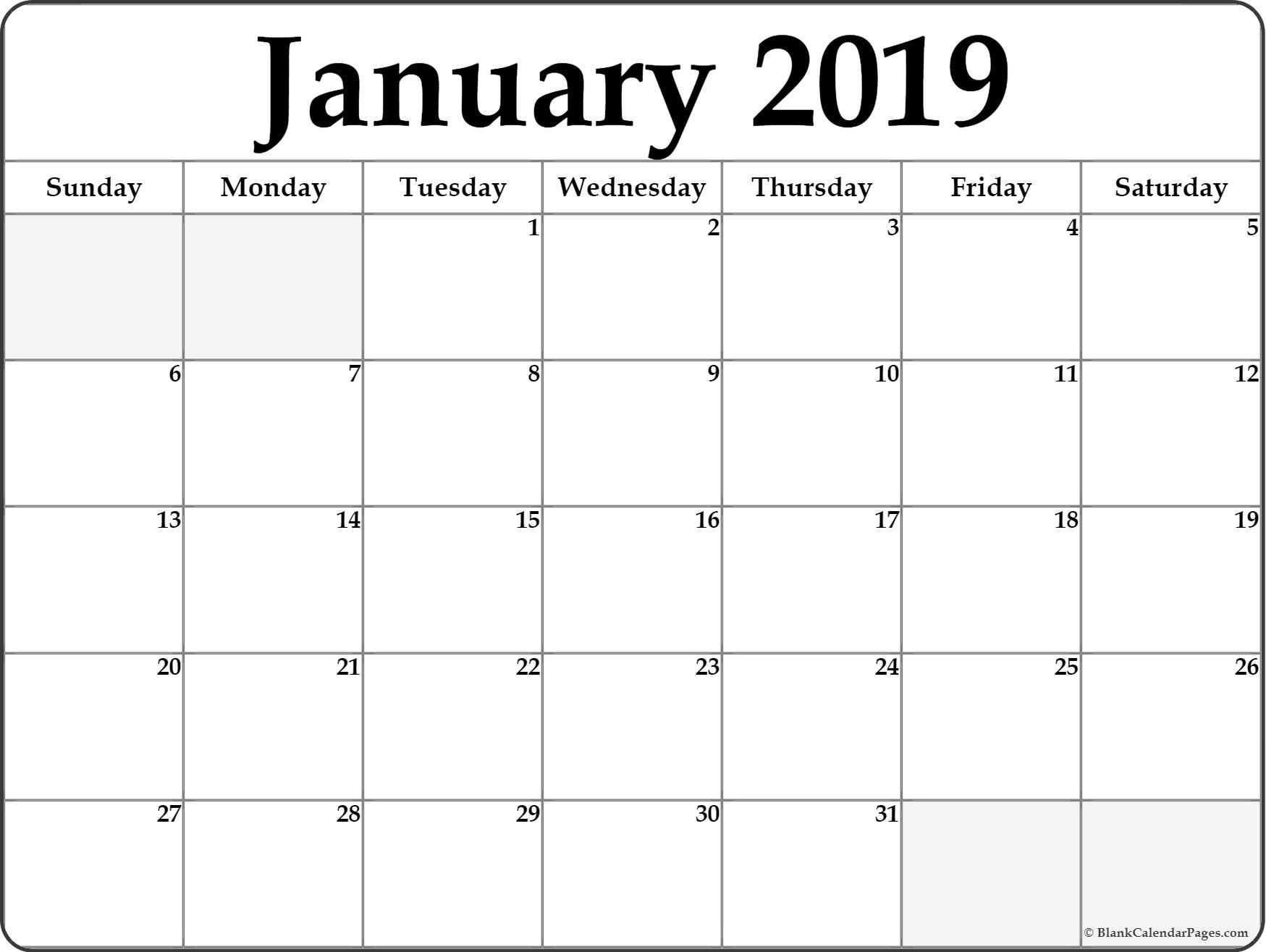 January 2019 Calendar | Free Printable Monthly Calendars-Blank Calendar Page Printable