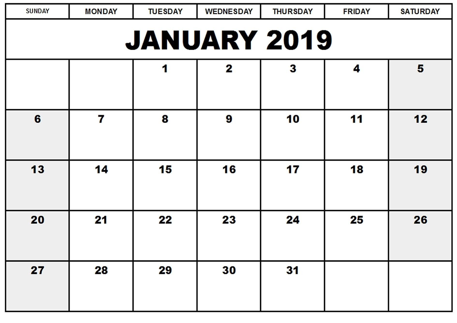 January 2019 Calendar Printable Daily #january2019Calendar-Excel Template Countdown Calendar