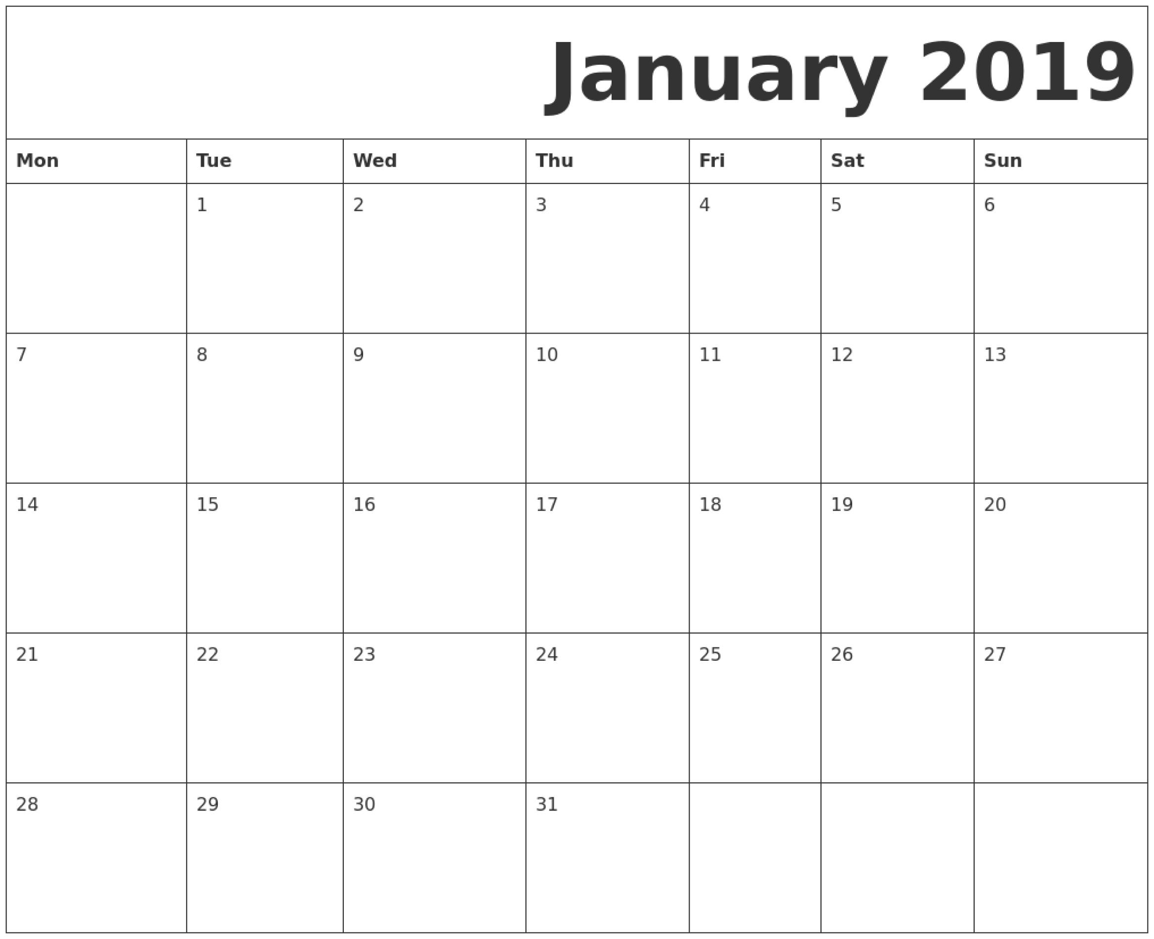 January 2019 Printable Calendar Monday Start. | Printable-Blank Calander Print Out Starting Monday