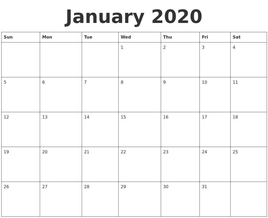January 2020 Blank Calendar Template-Blank 2020 Calendar Template