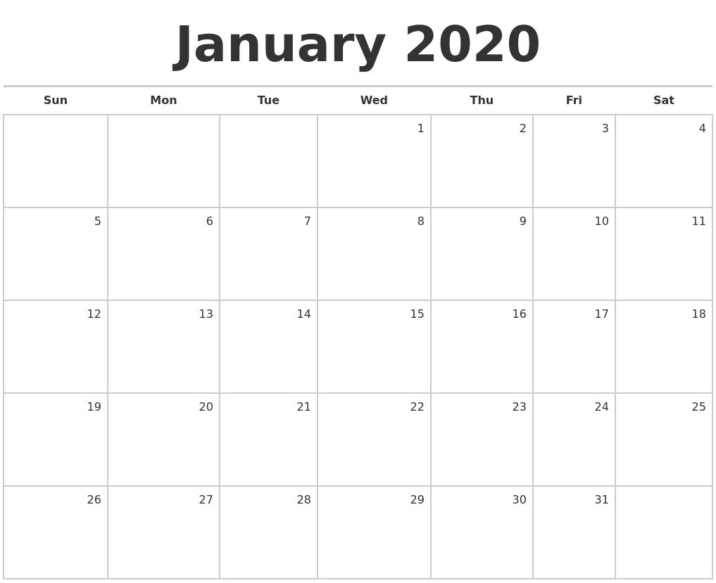 January 2020 Blank Monthly Calendar-Blank Monthly Calendar Monday Start