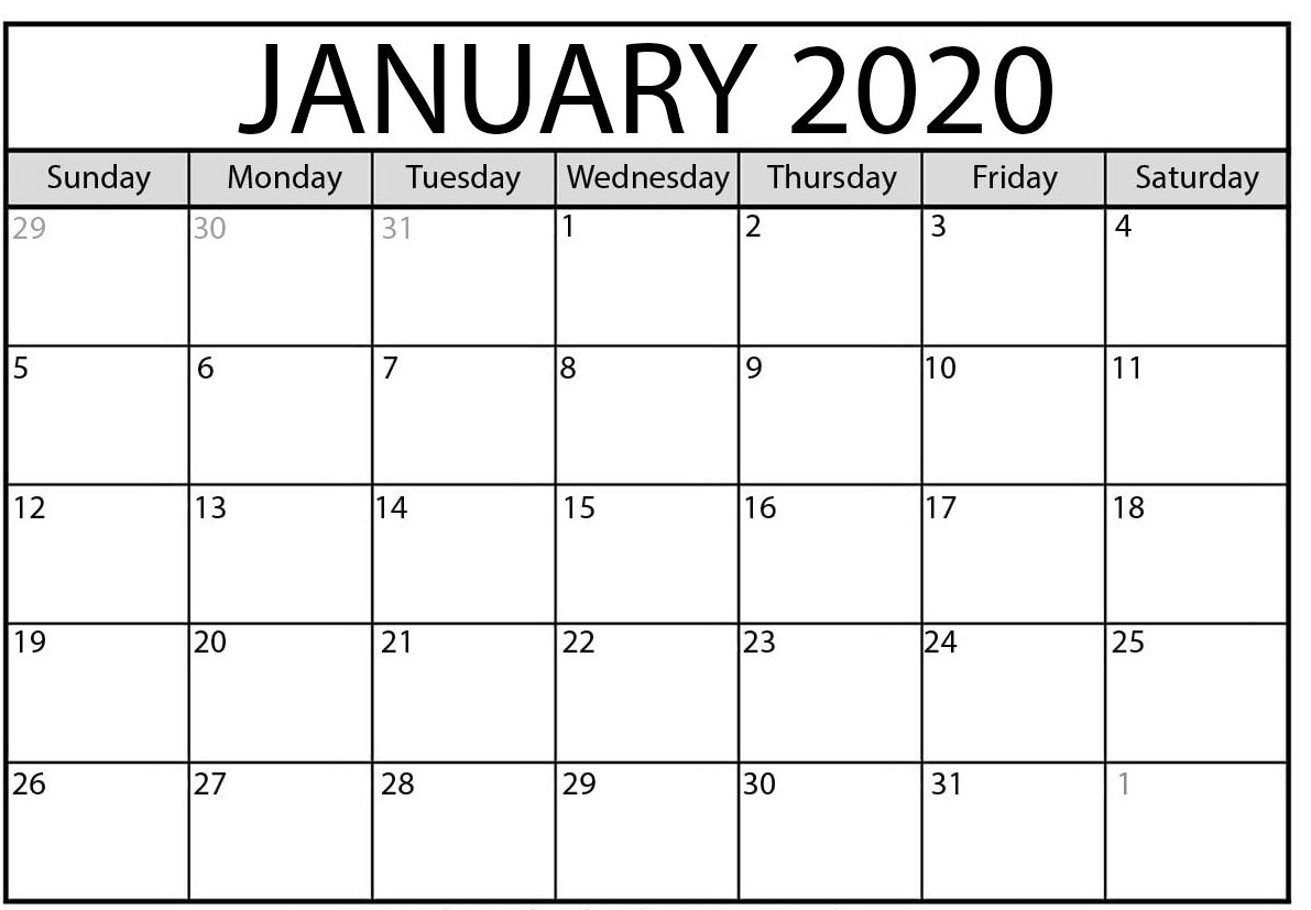 January 2020 Calendar | 2020 Yearly Calendar Template Download!!-Blank 2020 Calendar Template