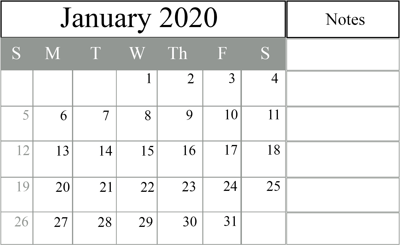 January 2020 Calendar Excel – Free Monthly Calendar-Monthly Calendar Sheets 2020