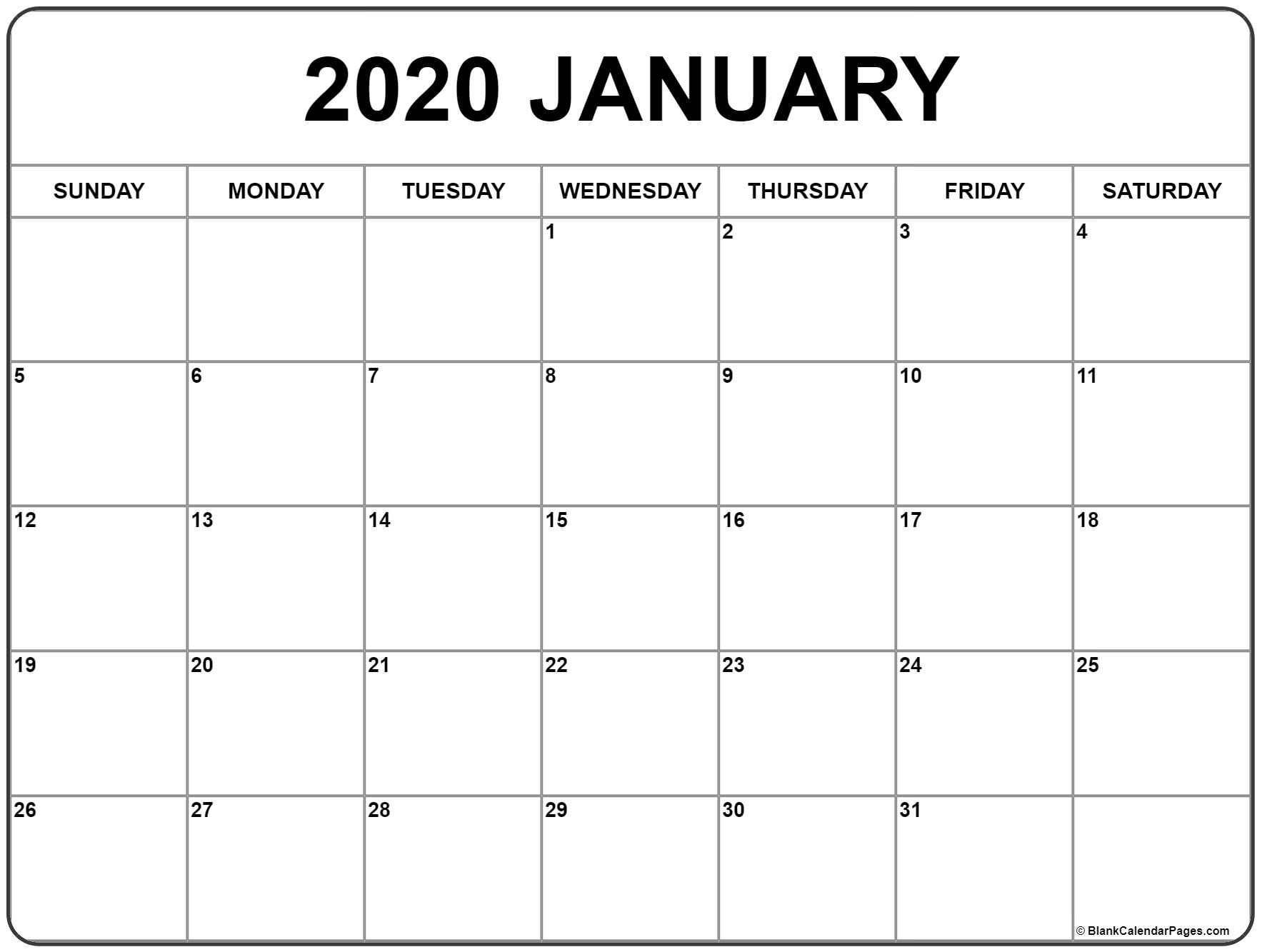 January 2020 Calendar | Free Printable Monthly Calendars-5 Day Calander Template July 2020