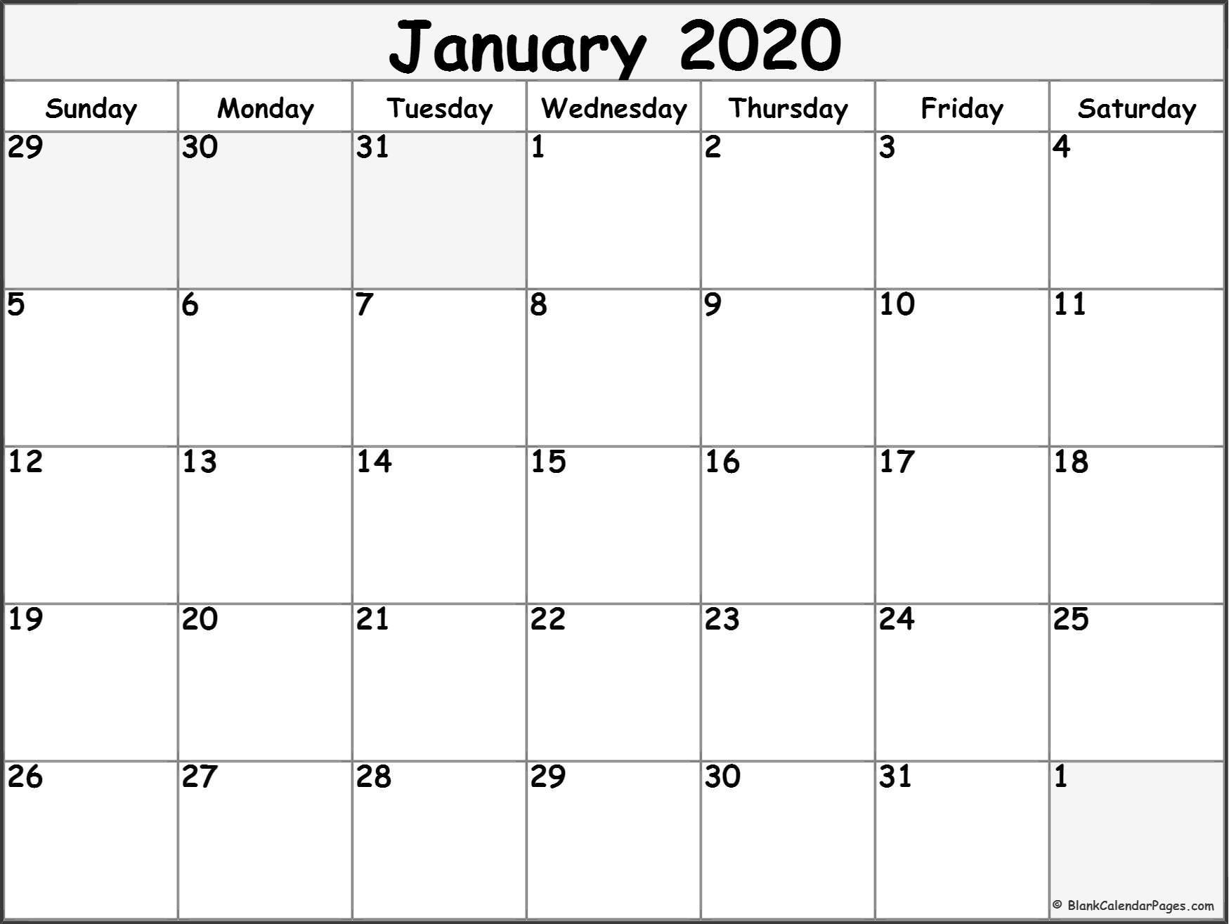 January 2020 Calendar | Free Printable Monthly Calendars-Blank 3 Month Calendar 2020 Printable