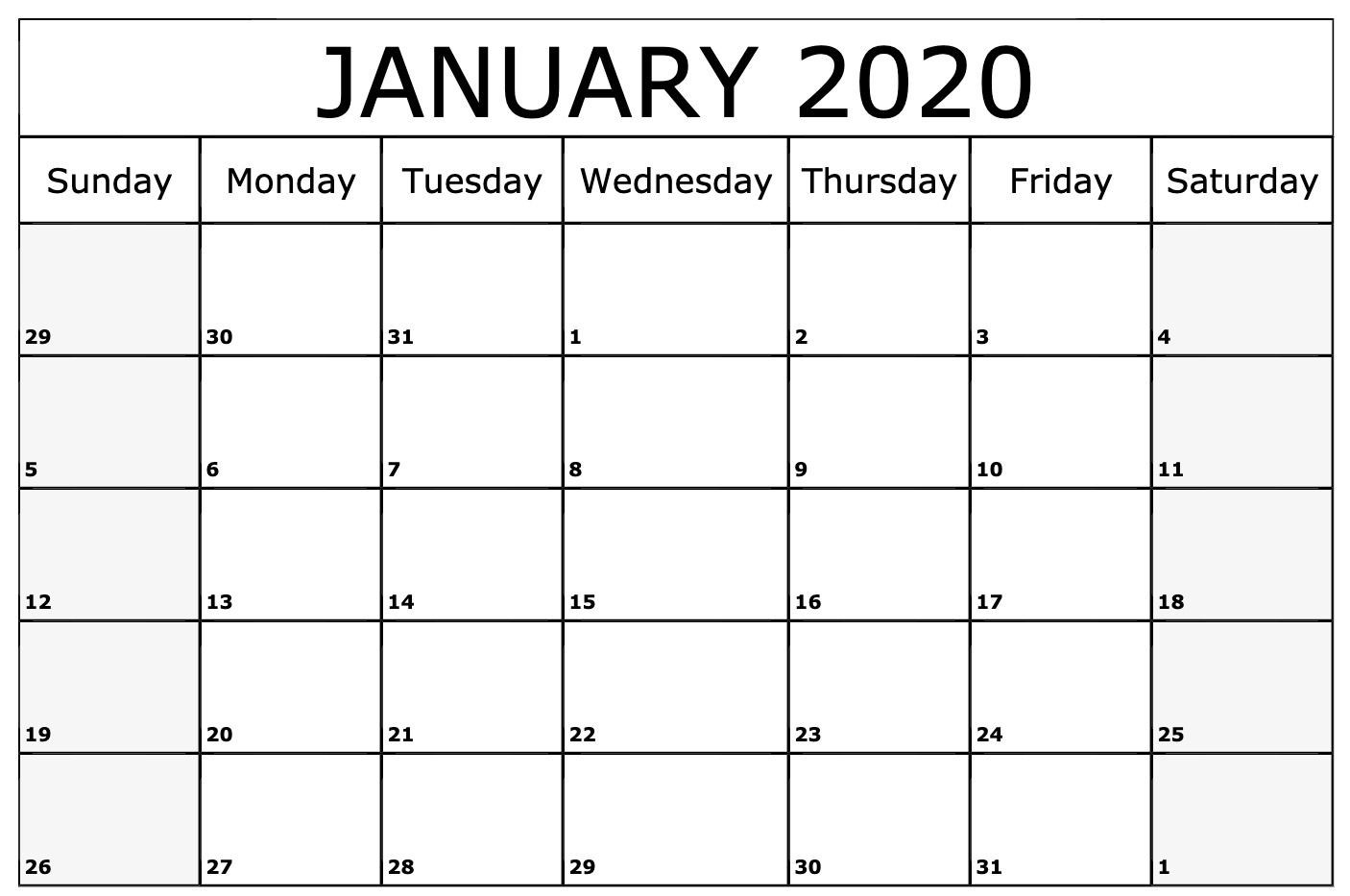January 2020 Calendar Printable Template | Printable-Microsoft Word Calendar Templates 2020 Free