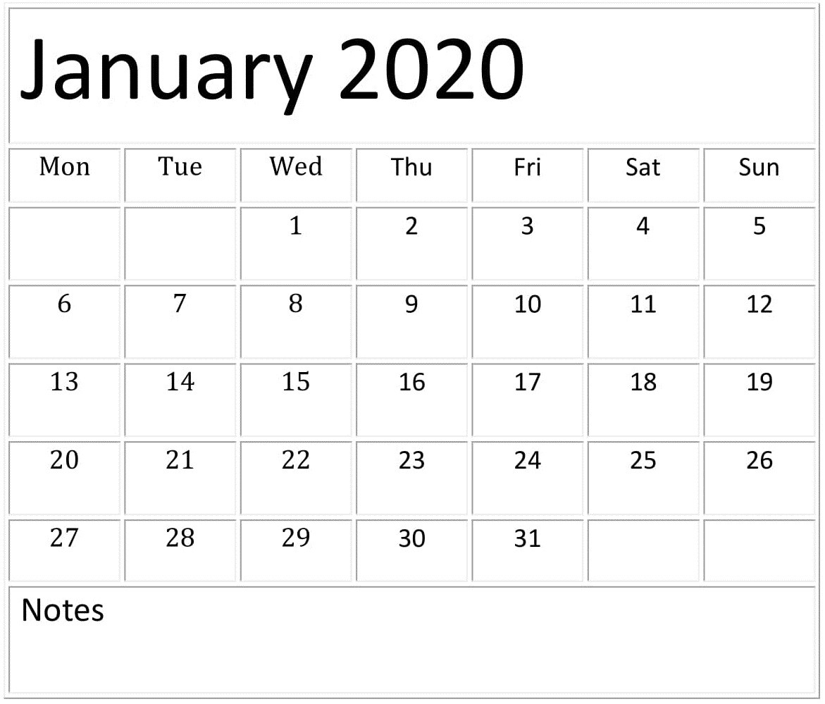 January 2020 Calendar Template For Google Sheets – Free-Google Sheets 2020 Calendar Template