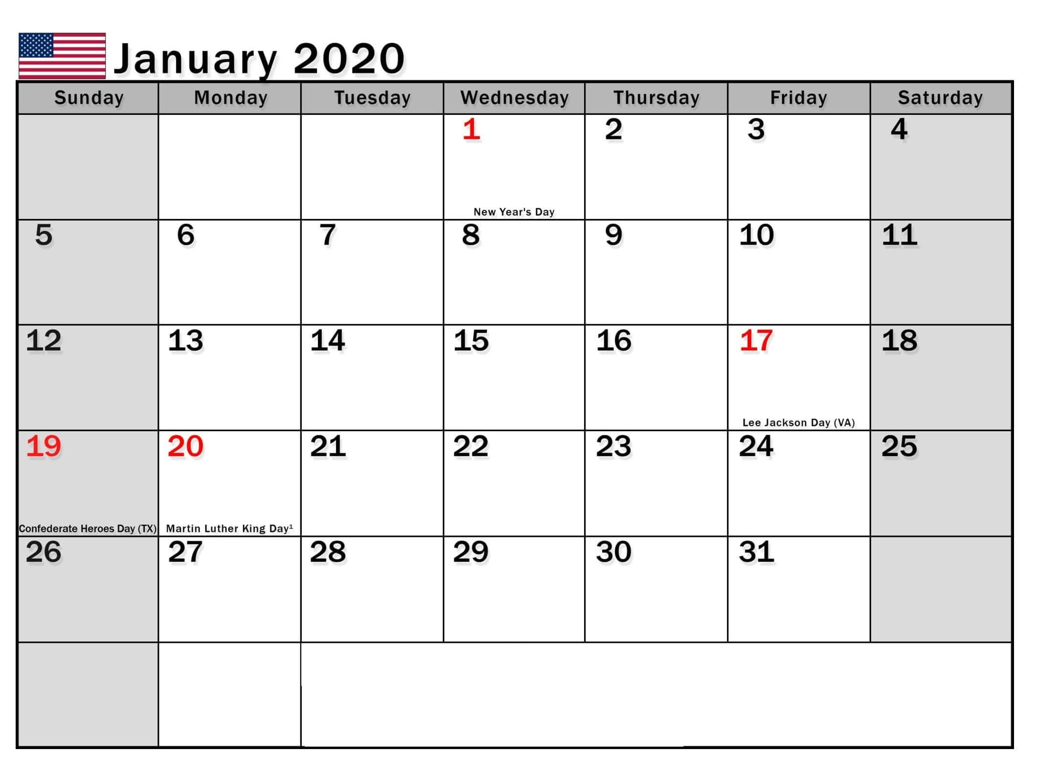 January 2020 Calendar Usa With Bank Holidays - 2019-2020 Calendar With Usa Legal Holidays