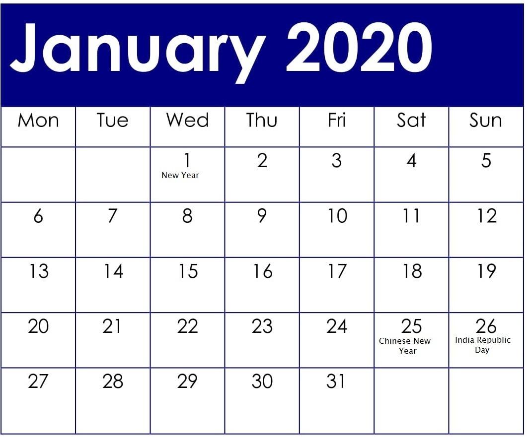 January 2020 Calendar With American Holidays And Events-National Calendar Holidays 2020