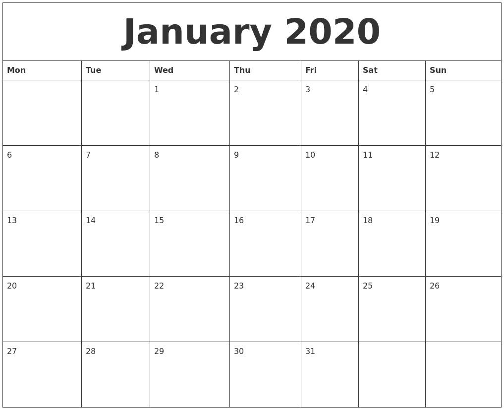 January 2020 Monthly Calendar To Print-Monthly Calendar Start Monday