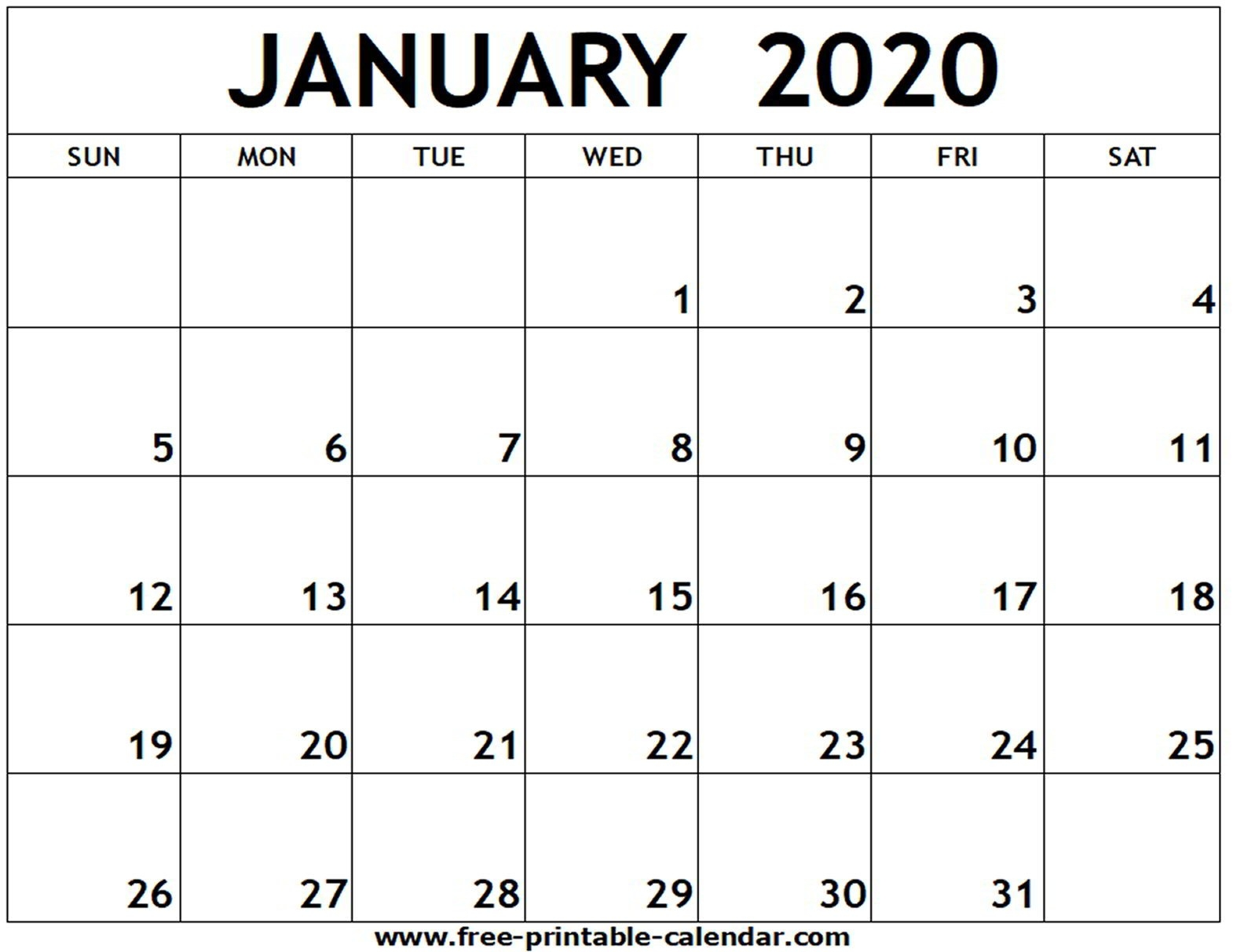 January 2020 Printable Calendar - Free-Printable-Calendar-Blank Calendar 2020 To Fill In
