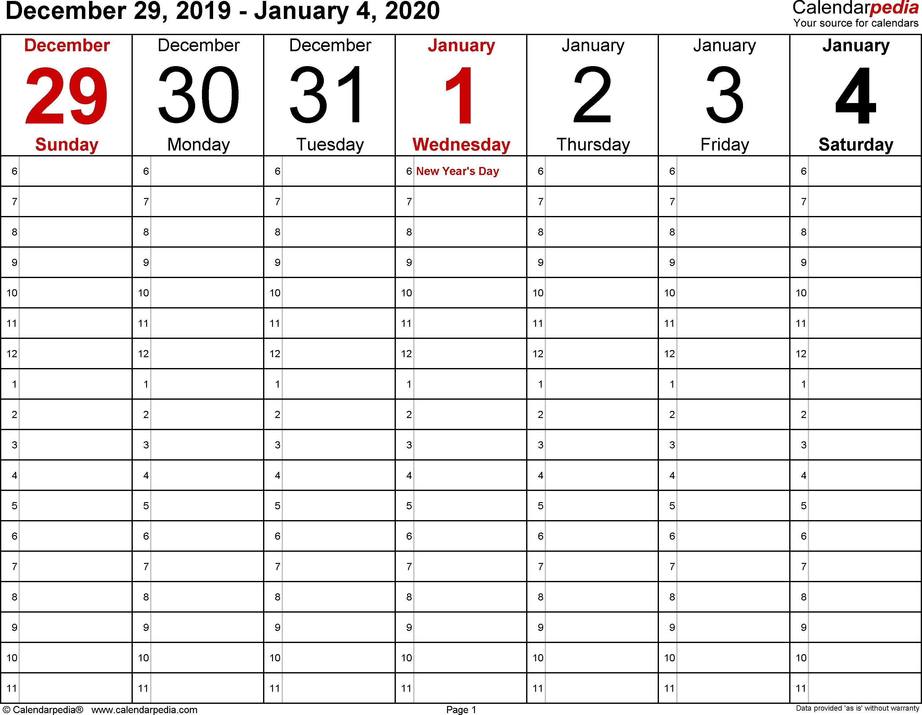 January 2020 Weekly Calendar | Calendar 2019 Template-Daily Hourly Calendar Template 2020 Printable