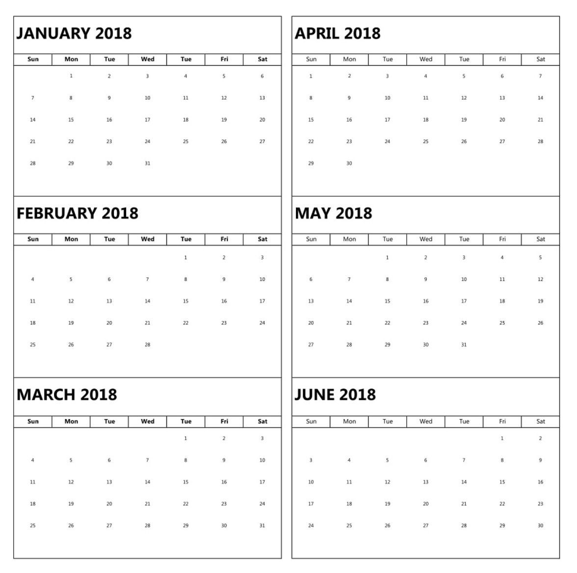 January To June 6 Months Calendar 2018 | Marketing Calendar-Blank Six Month Calendar Printable