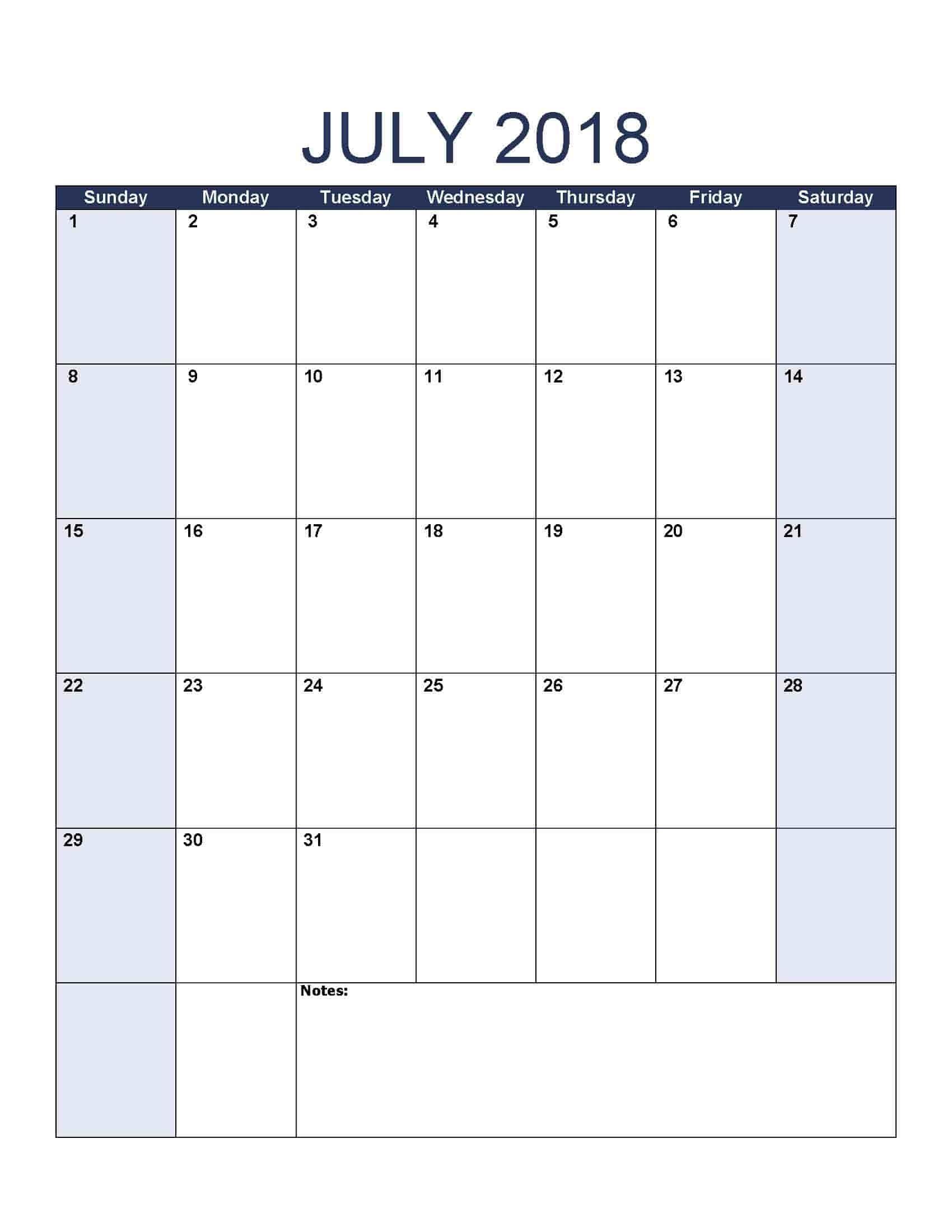 July 2018 Calendar - Free, Printable Calendar Templates-Jewish Holidays Calendar Format