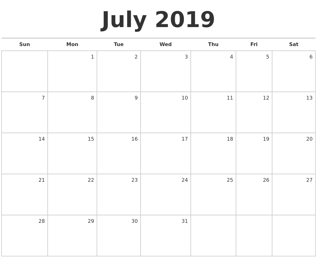 July 2019 Blank Monthly Calendar-Blank Monthly Calendar Monday Start