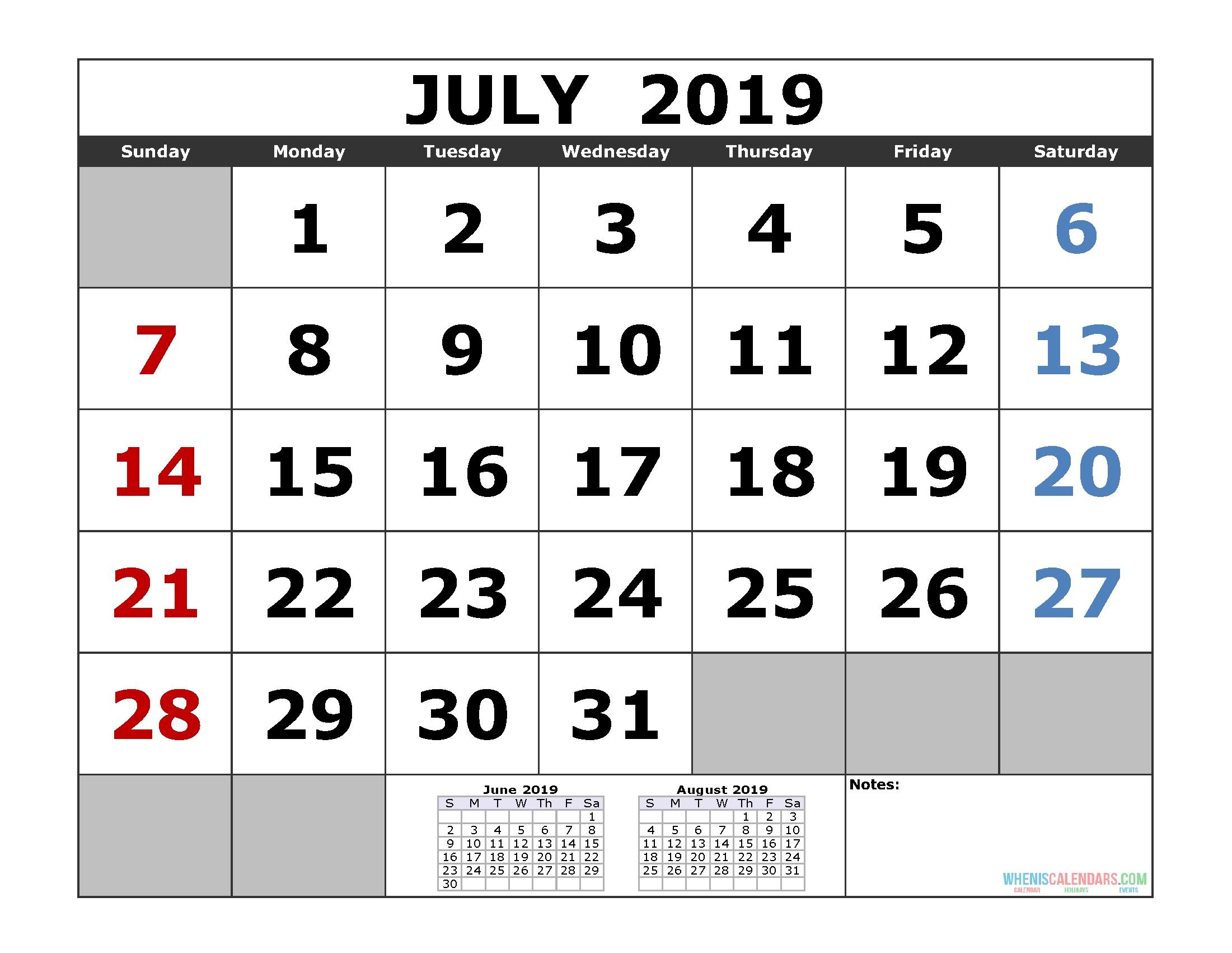 July 2019 Printable Calendar Template (3 Month Calendar-Blank Calendar Printable Three Months Togather
