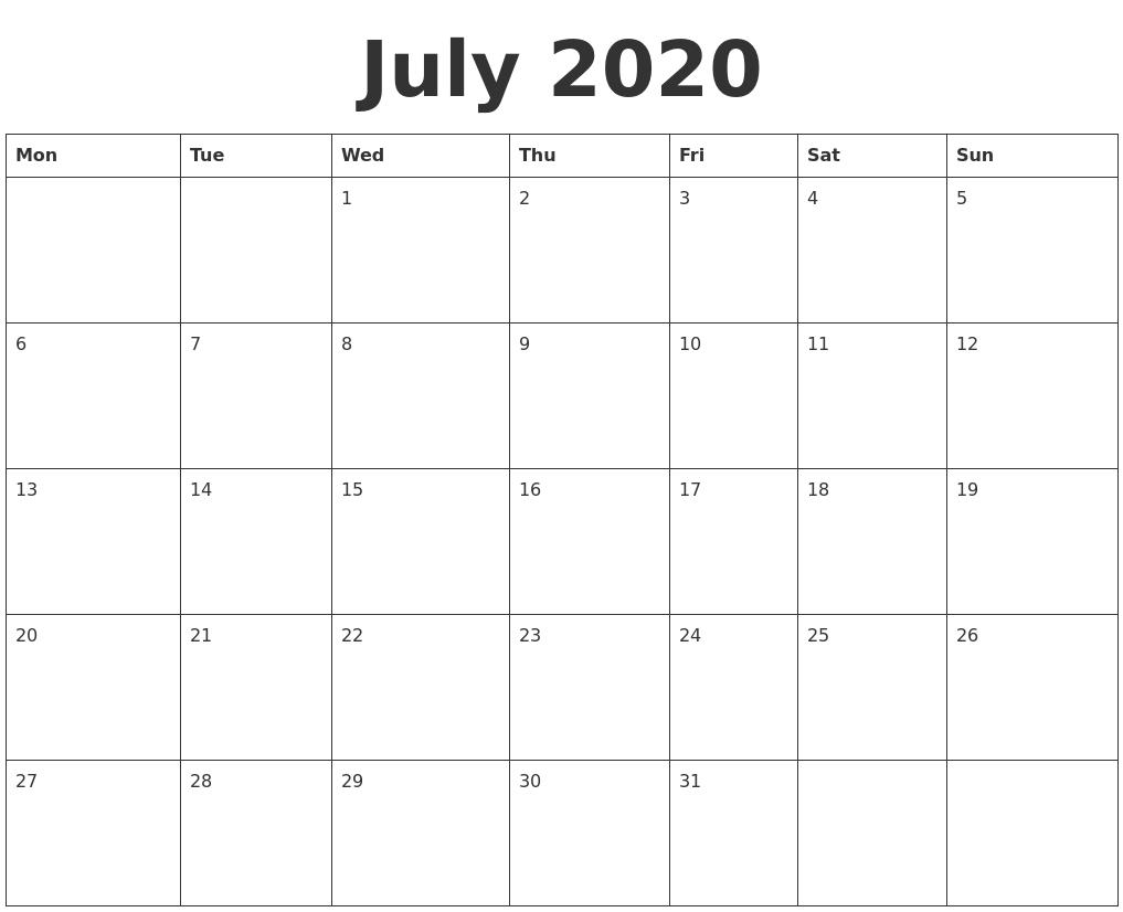 July 2020 Blank Calendar Template-Blank Calander Print Out Starting Monday