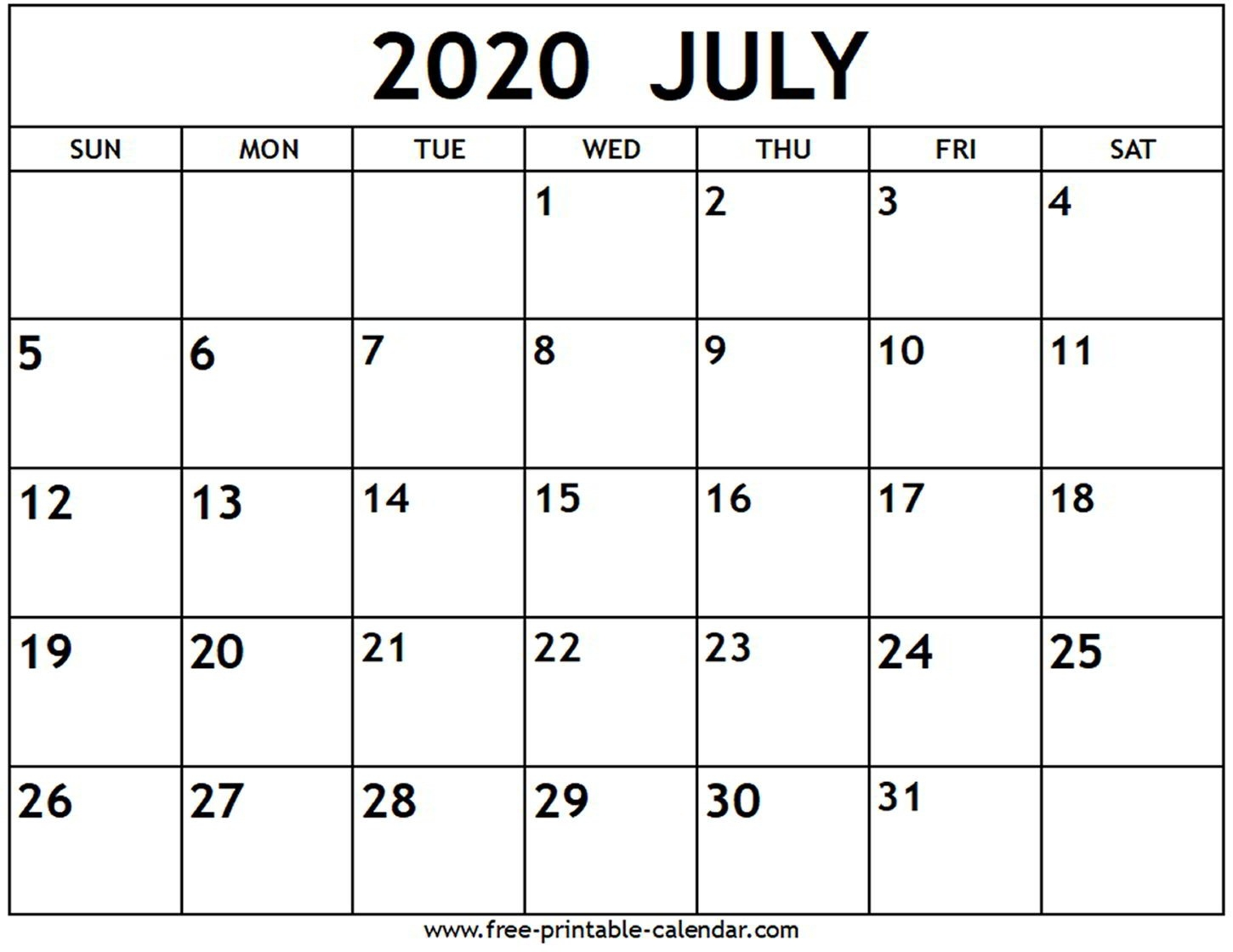 July 2020 Calendar - Free-Printable-Calendar-Blank Monthly Calendar Printable July 2020