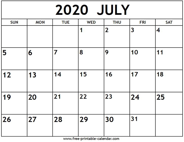 July 2020 Calendar - Free-Printable-Calendar-Monthly Calendar June-July 2020