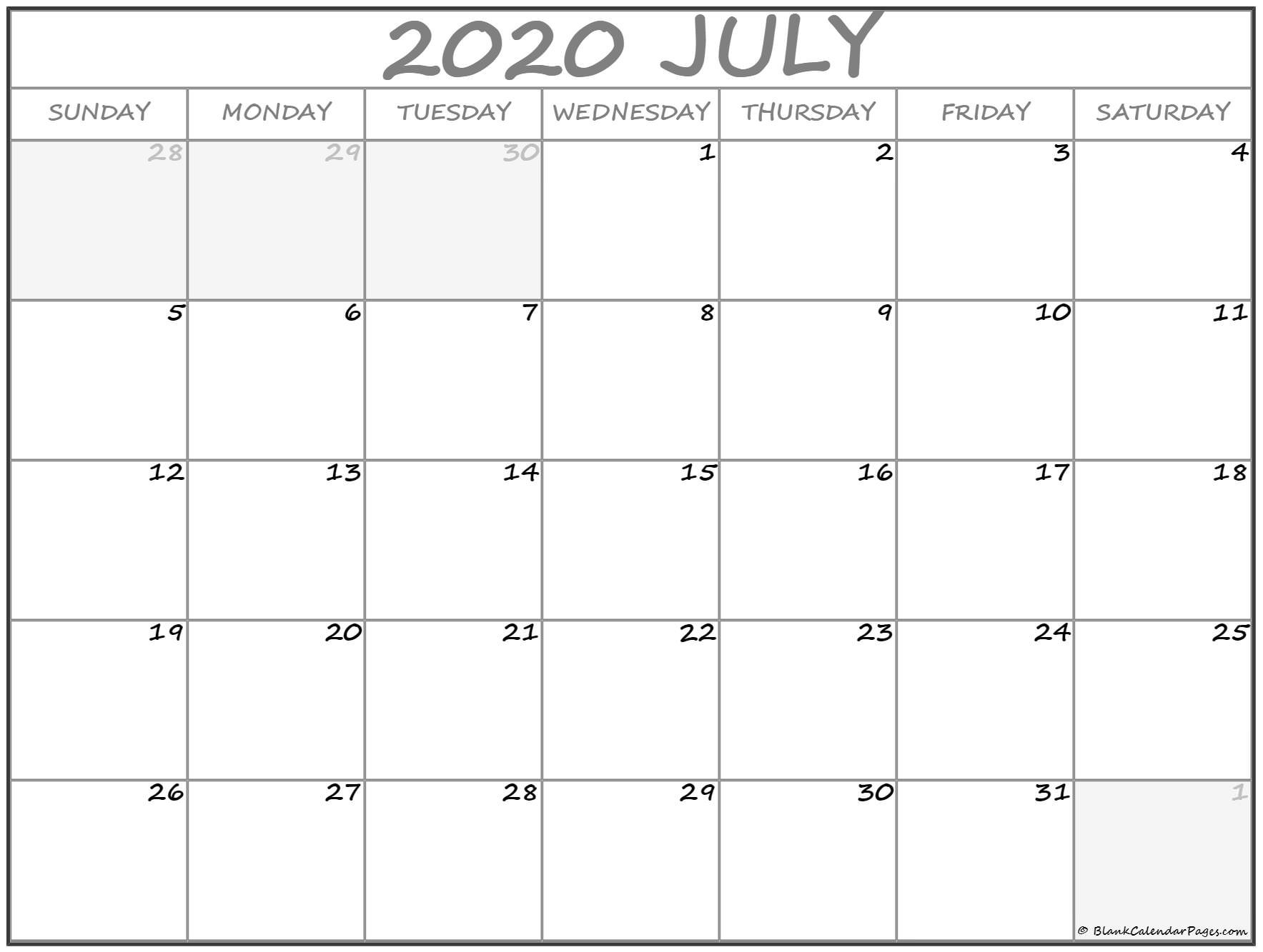 July 2020 Calendar | Free Printable Monthly Calendars-5 Day Calander Template July 2020