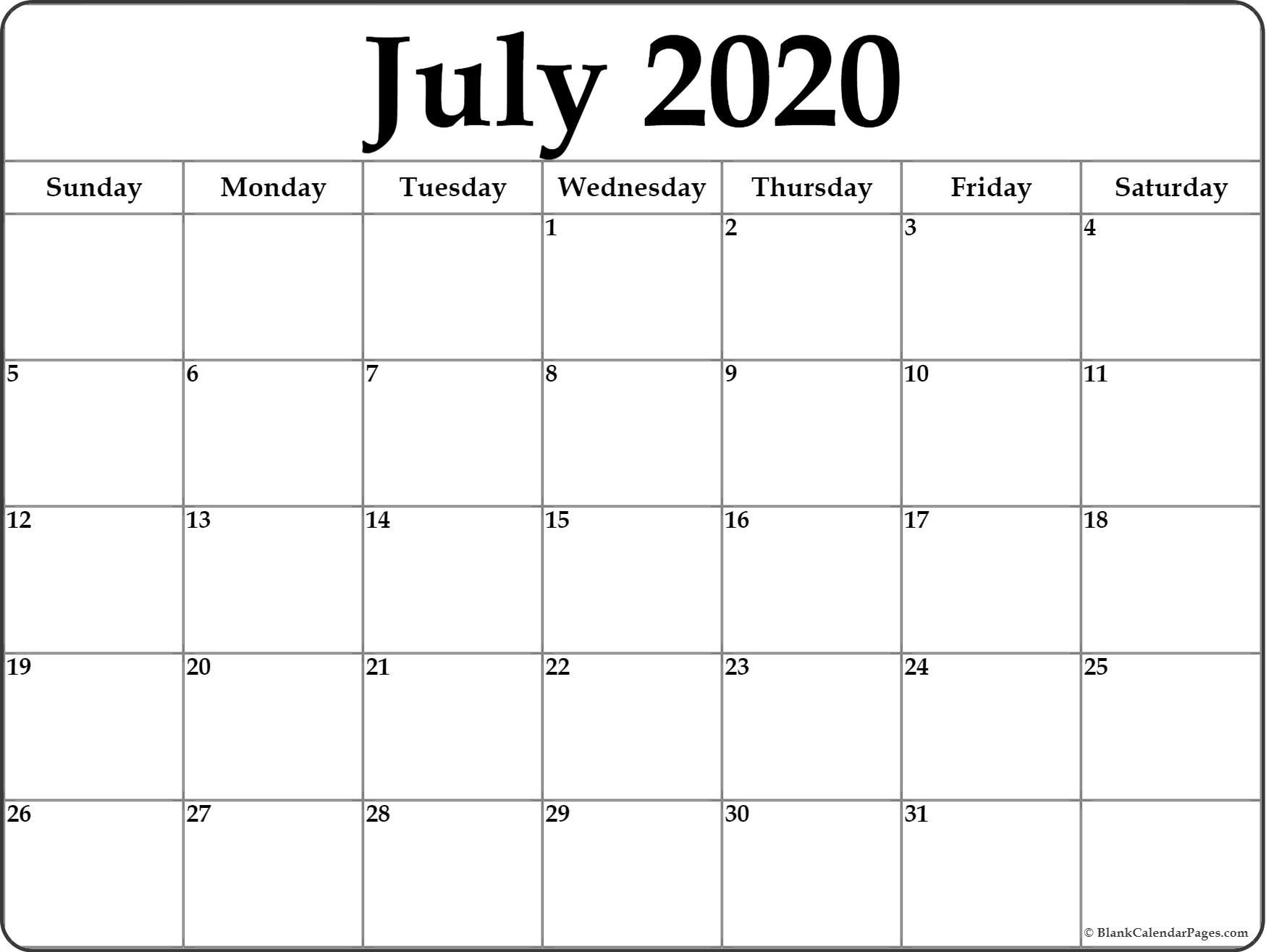 July 2020 Calendar | Free Printable Monthly Calendars-Blank Monthly Calendar Printable July 2020