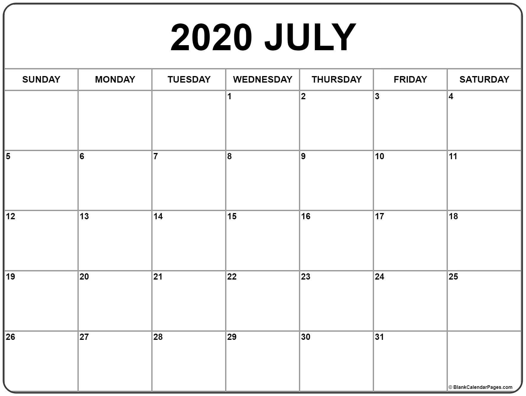 July 2020 Calendar | Free Printable Monthly Calendars-Monthly Calendars 2020 Printable Free 2-Pages Blank
