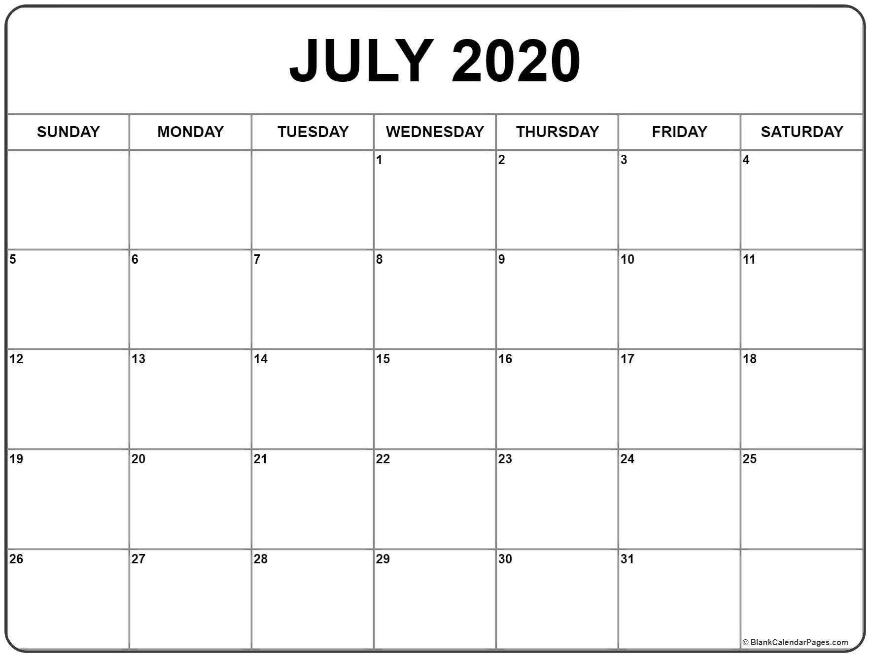 July 2020 Calendar | Printable Blank Calendar, January-Blank Monthly Calendar Printable July 2020
