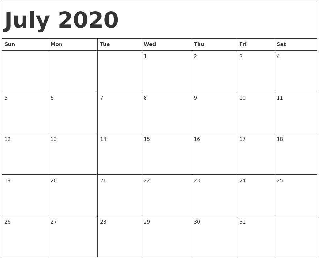 July 2020 Calendar Template-Blank Calander Print Out Starting Monday