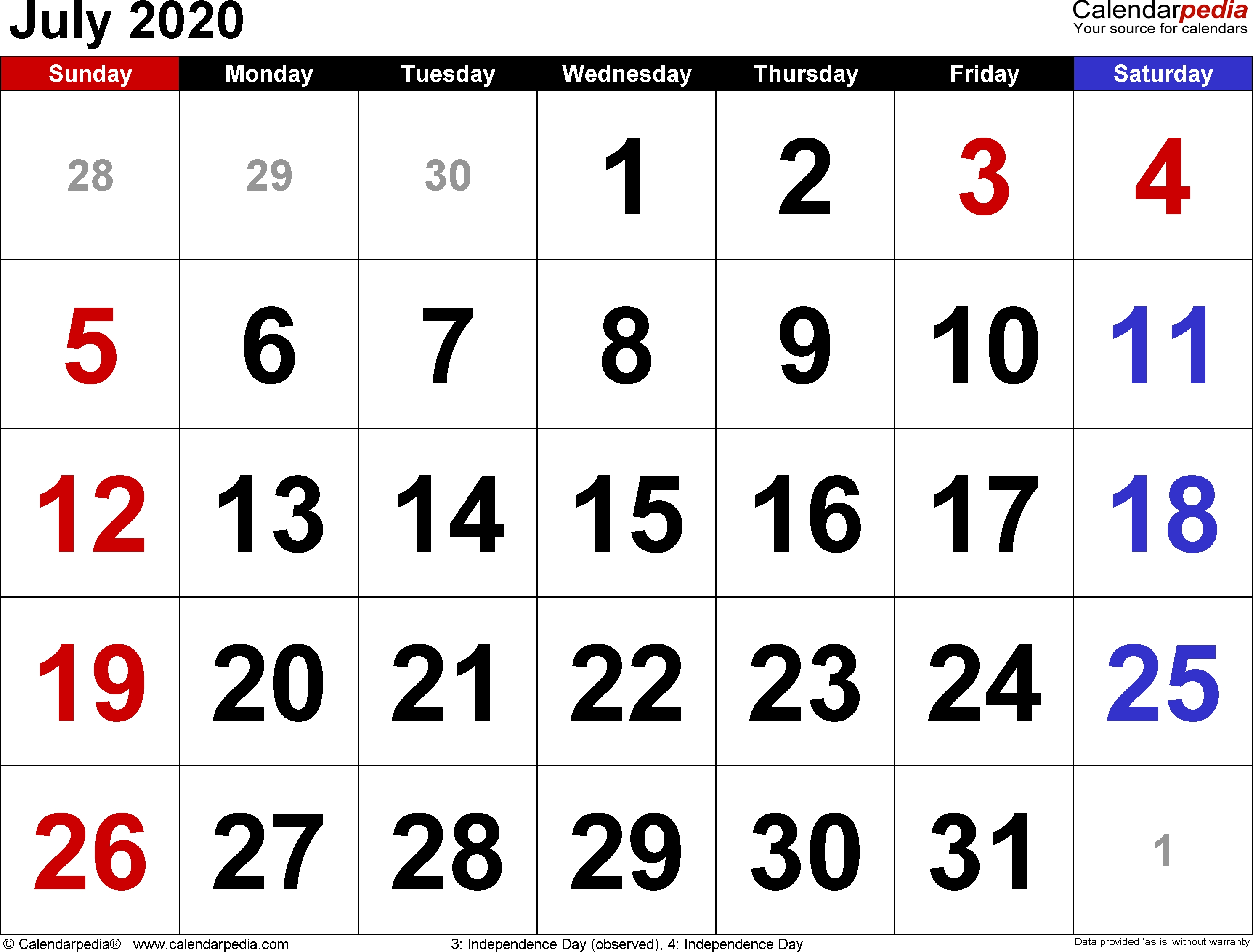 July 2020 Calendars For Word, Excel & Pdf-5 Day Calander Template July 2020