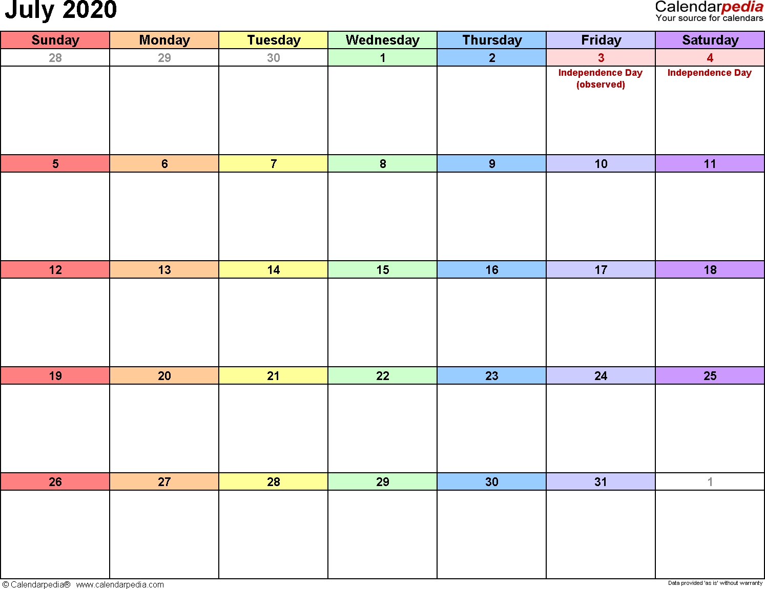 July 2020 Calendars For Word, Excel & Pdf-Blank Monthly Calendar Printable July 2020