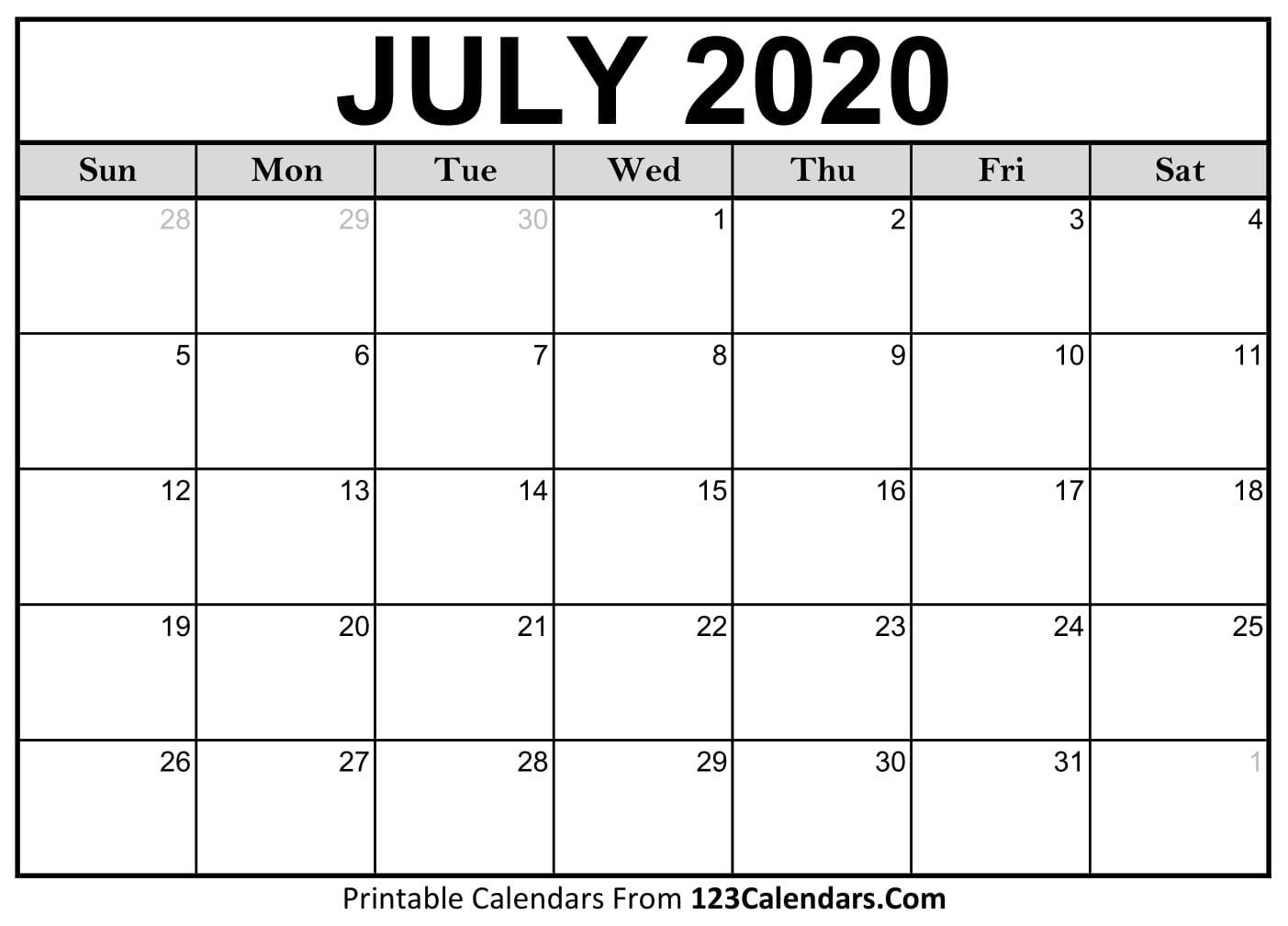July 2020 Printable Calendar | 123Calendars-June August 2020 Calendar Template