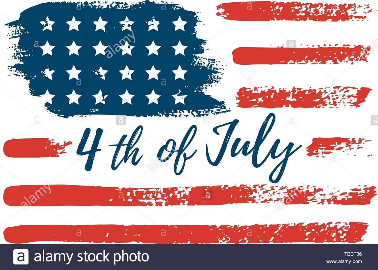 July 4Th Usa Flag Hand Draws The Brush Strokes. Vector-July 4Th Closed Sign Template