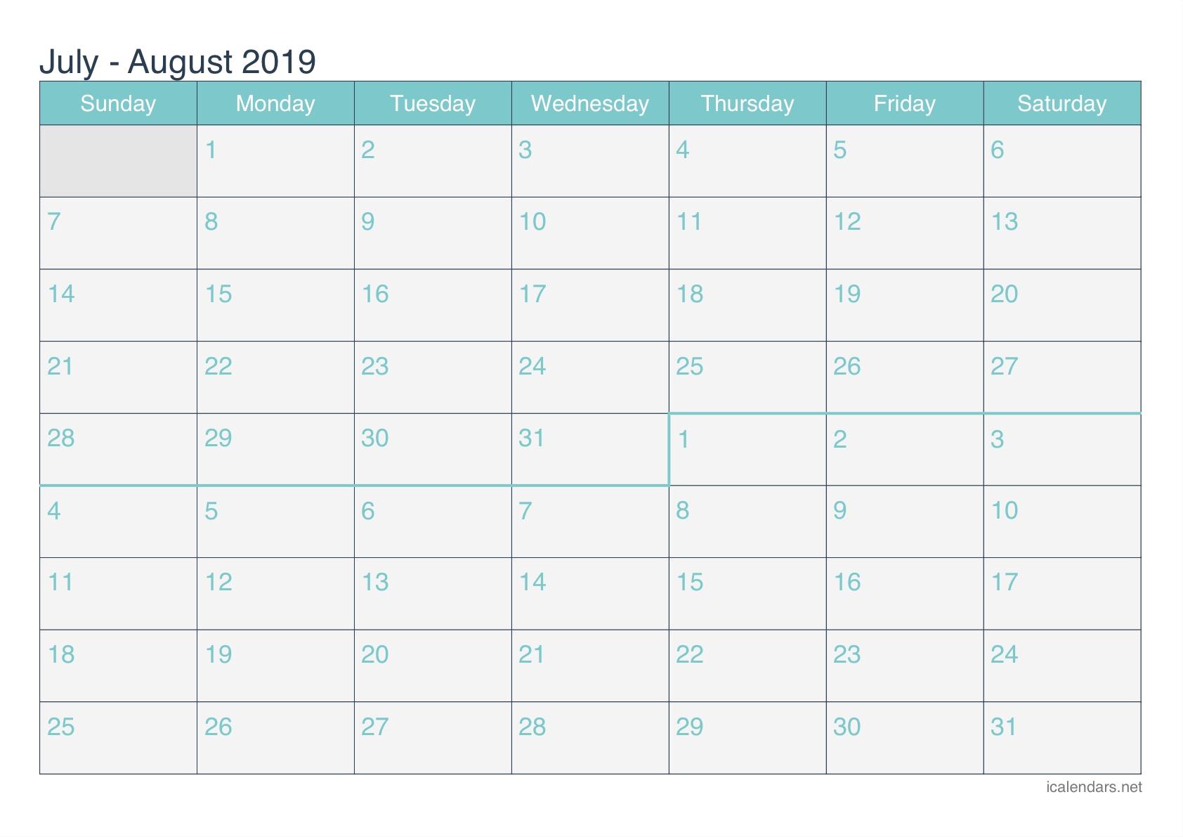 July And August 2019 Printable Calendar - Icalendars-Blank Calendar June July August