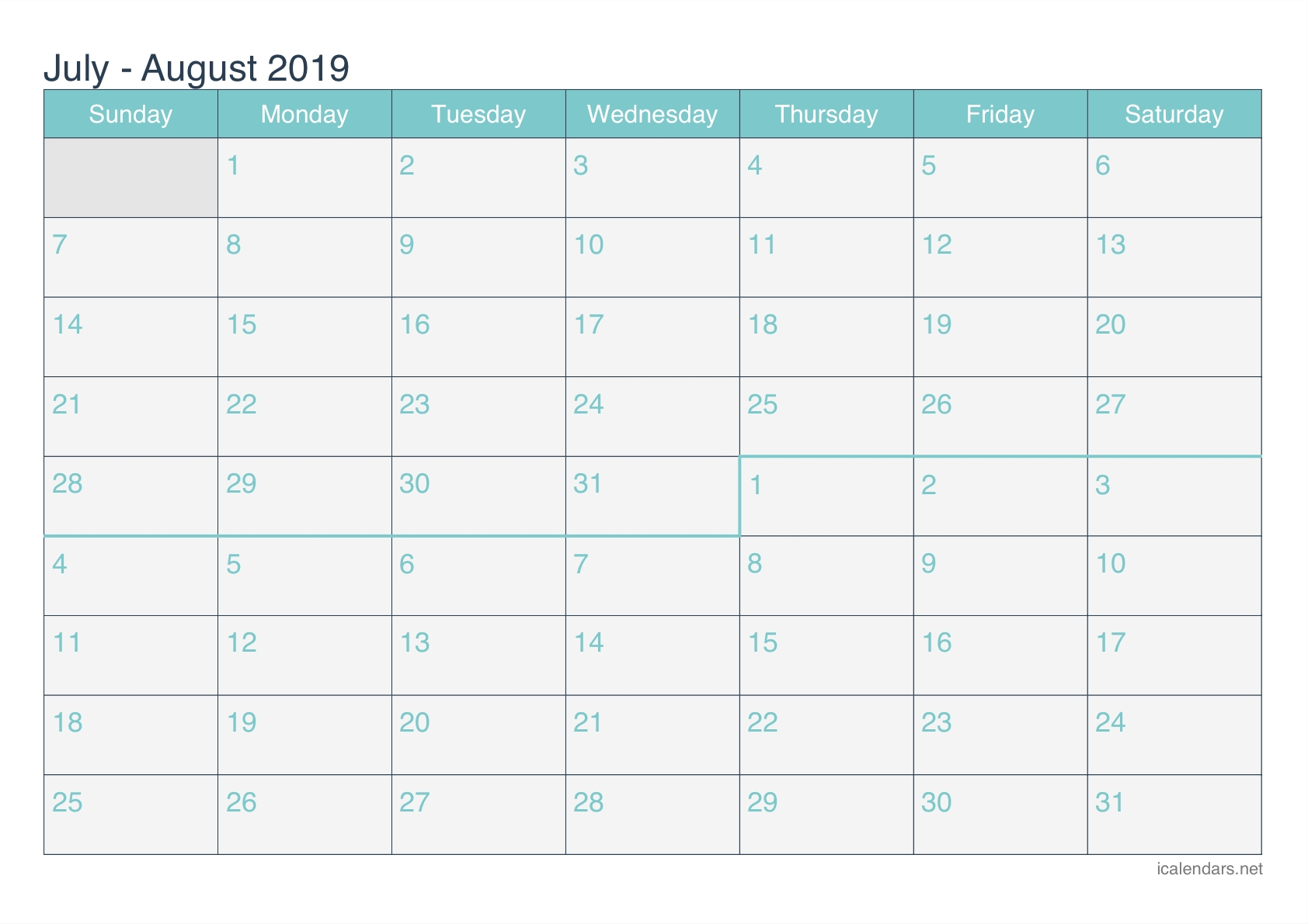 July And August 2019 Printable Calendar - Icalendars-July To August Monthly Calendar