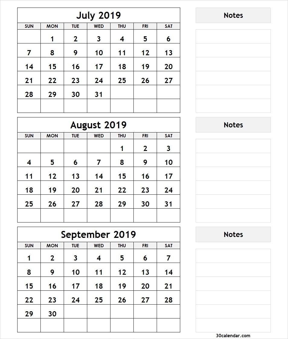 July August September 2019 Calendar | 3 Month Calendar Template-July To August Monthly Calendar