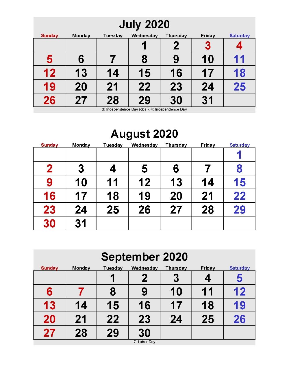 July August September 2020 Calendar 3 Months Per Page-Calendar Templates 3Months Per Page