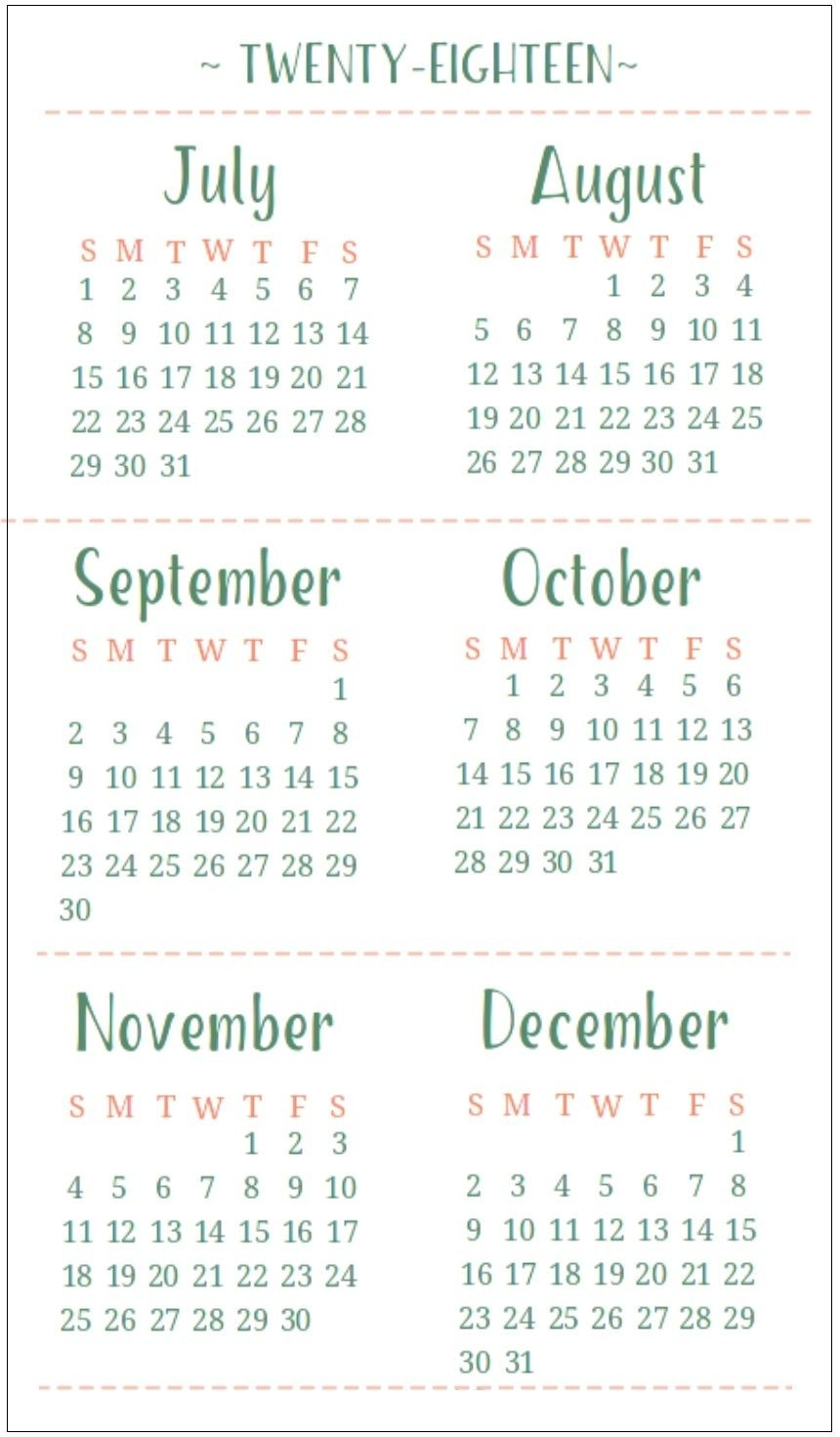 July August September October November December 2018-6 Months On One Page Template