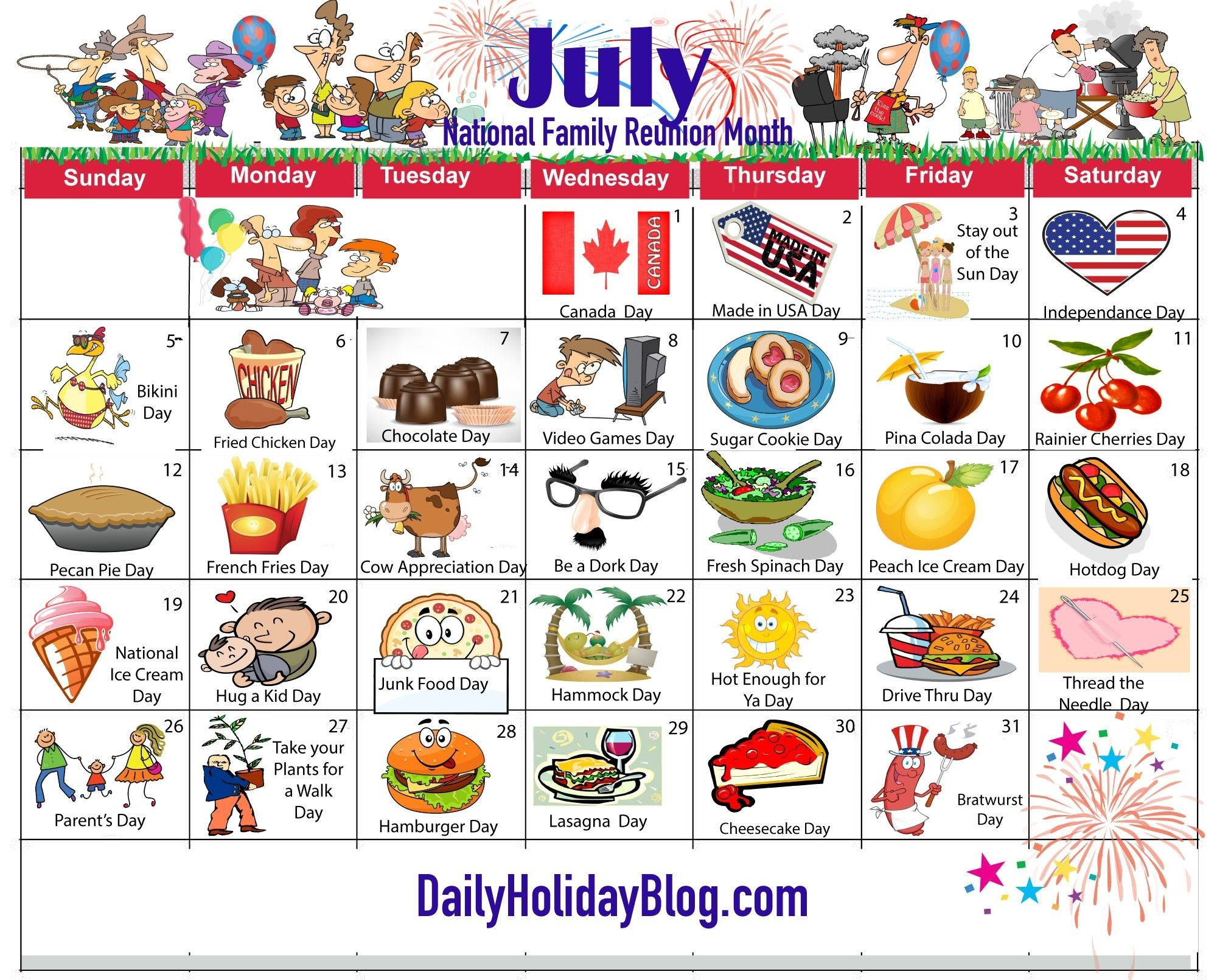 July Holiday Calendar 2015 | National Holiday Calendar-National Food Day Monthly Calendar