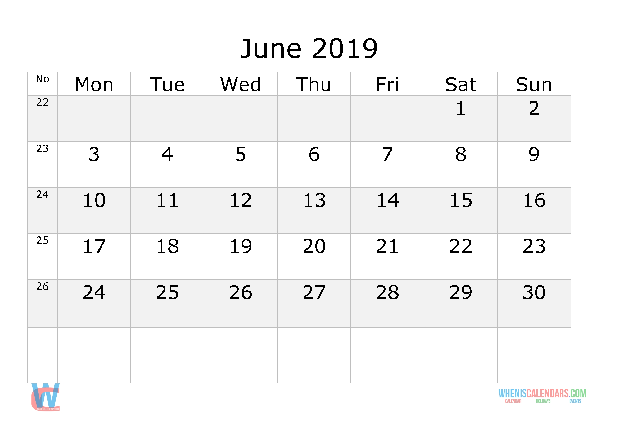 June 2019 Calendar With Week Numbers Printable, Start By-Blank Monthly Calendar Starting On Monday