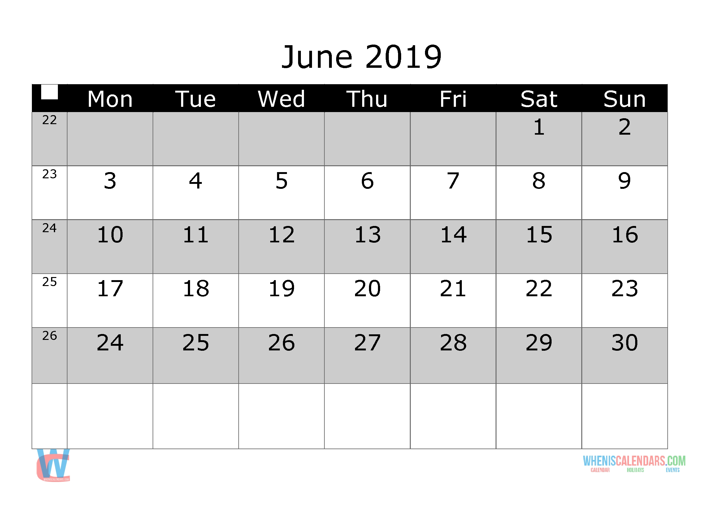 June 2019 Printable Monthly Calendar With Week Numbers-Monthly Calendar Start Monday