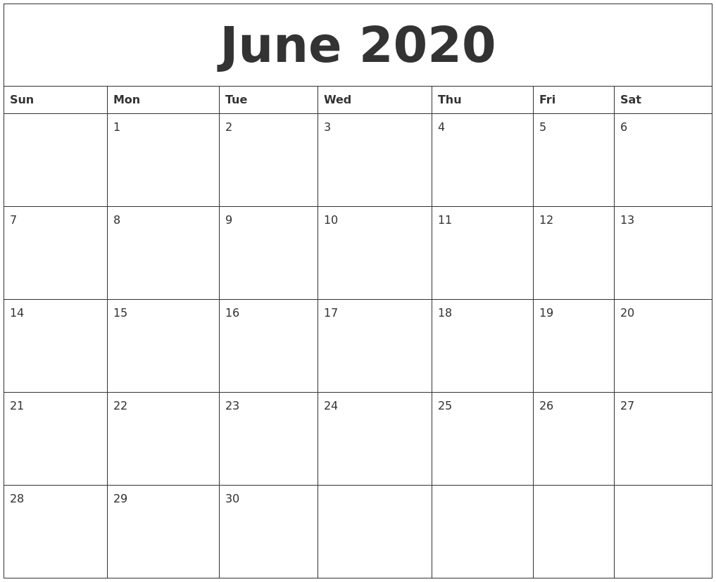 June 2020 Calendar-Blank Calendar Template Starting With Monday