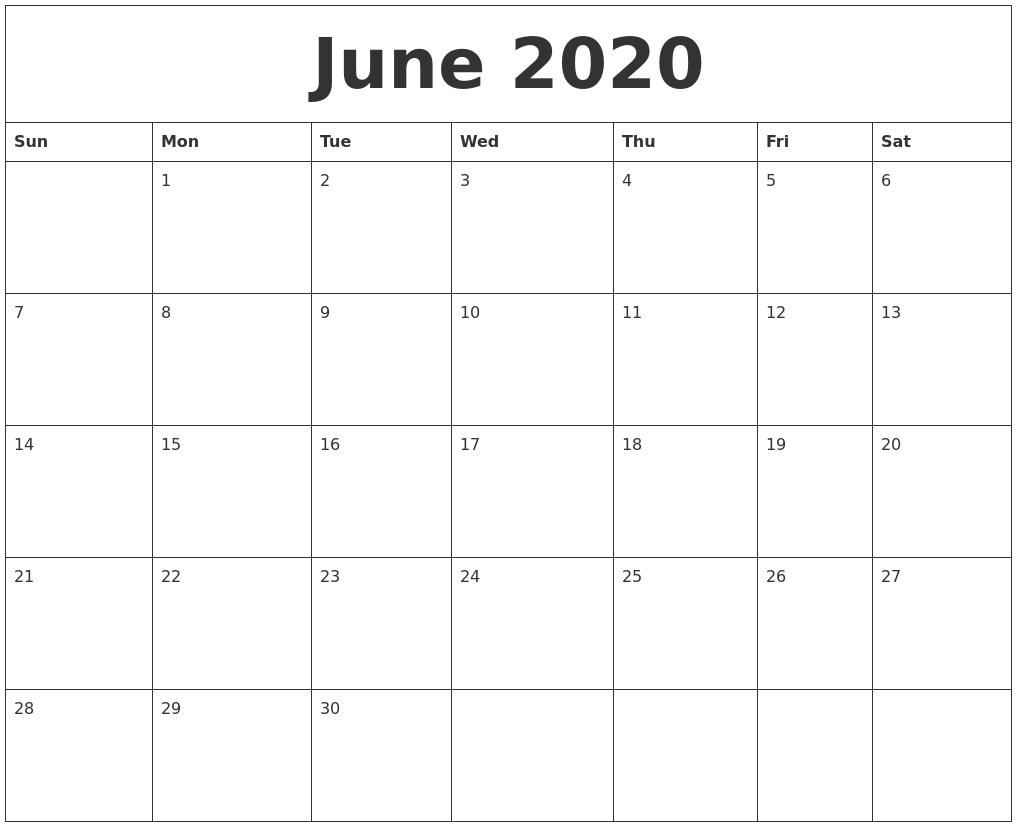 June 2020 Calendar-Monthly June 2020 Calendar