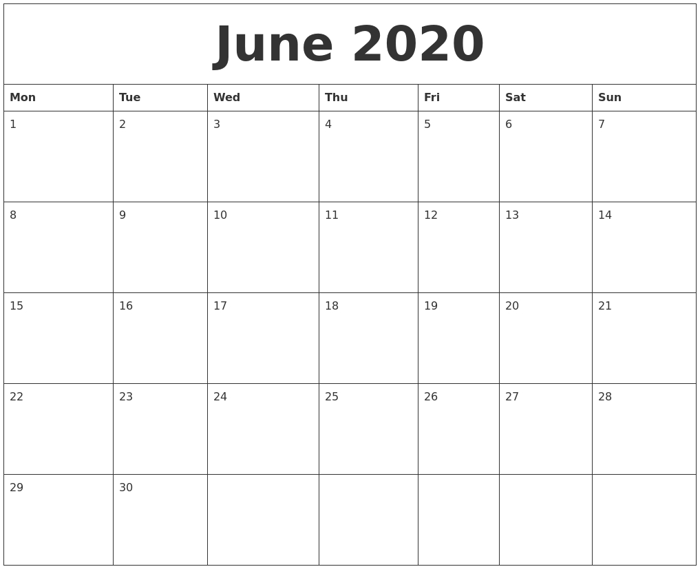 June 2020 Monthly Calendar To Print-Monthly Calender Starting With Monday