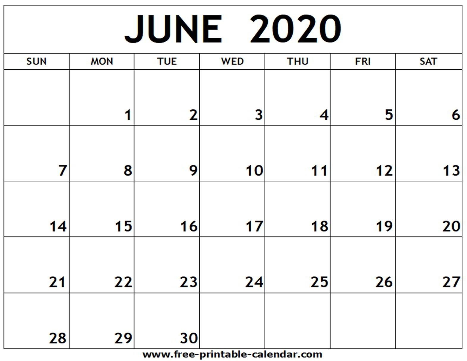 June 2020 Printable Calendar - Free-Printable-Calendar-Blank Calendar 2020 June July August
