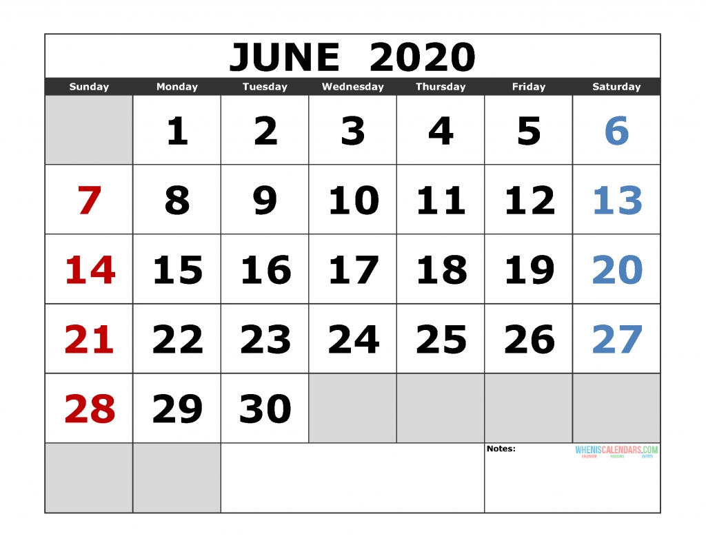 June 2020 Printable Calendar Template Excel, Pdf, Image [Us-Monthly Calendar Sheets 2020